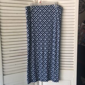 Loft straight skirt blue white floral large